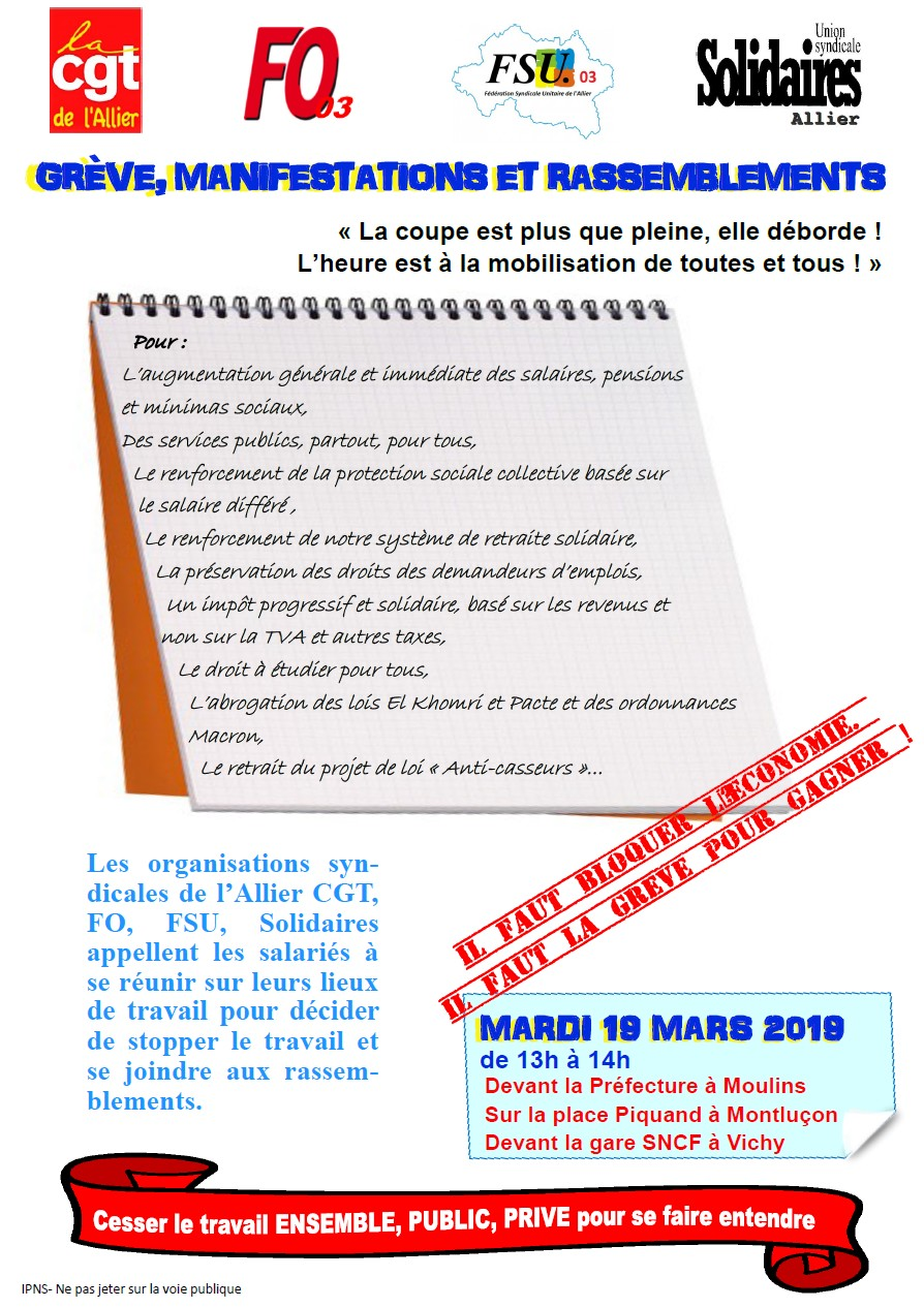 Tract intersyndical 19 mars